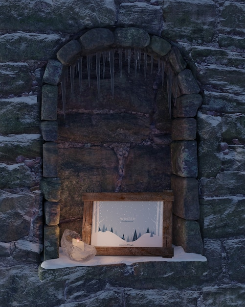 Fireplace with winter frame theme Free Psd