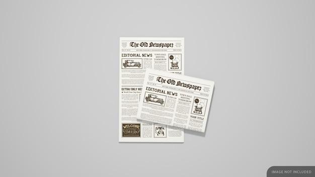 첫 페이지 및 접힌 신문 모형 프리미엄 PSD 파일
