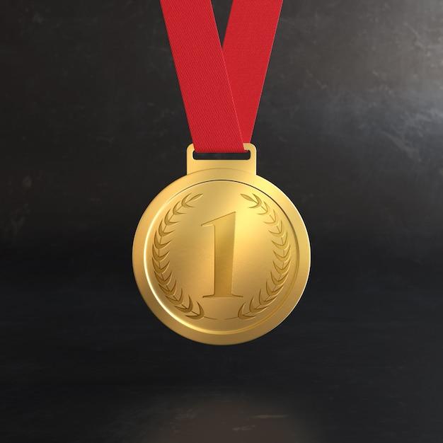 Макет золотой медали награды за первое место Premium Psd
