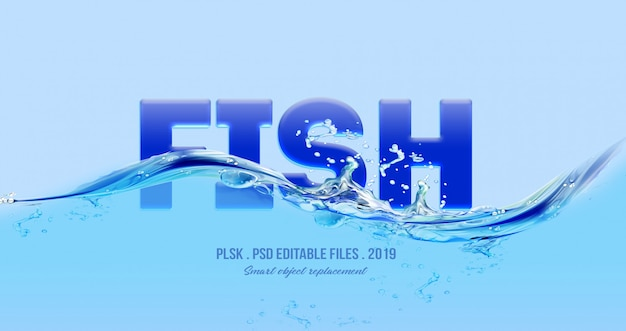 Fish 3d text style effect Premium Psd