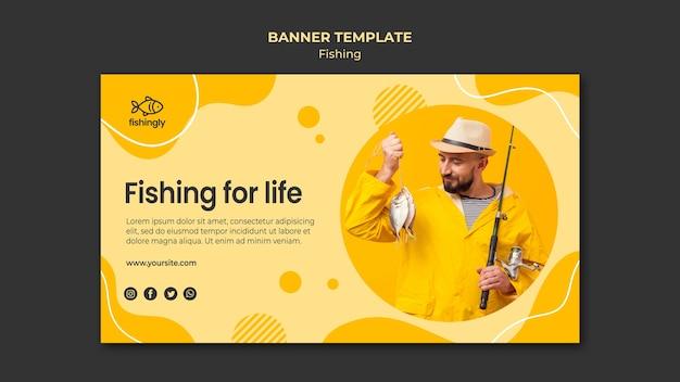 Fishing for life man in yellow fishing coat banner Premium Psd