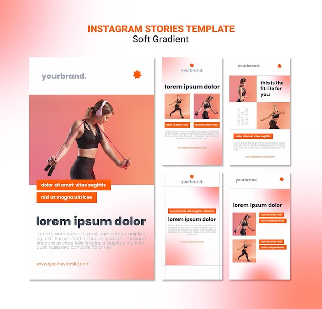 Шаблон историй instagram для девочек Premium Psd