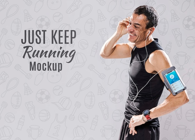 Fit runner with mock-up Free Psd