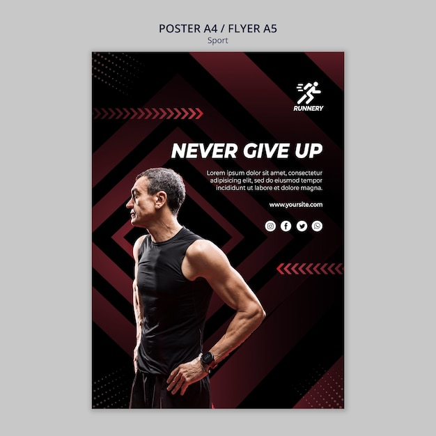 Fit sportsman never give up poster template Free Psd