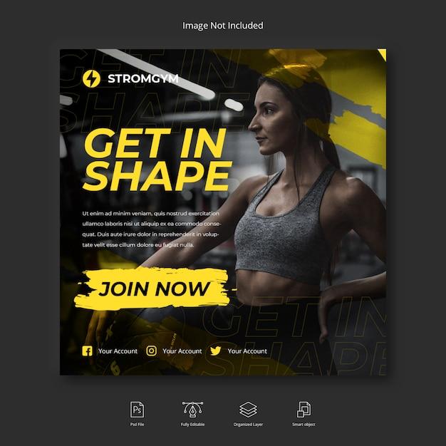 Социальная сеть fitness and gym workout, шаблон поста в instagram или квадратный флаер Premium Psd