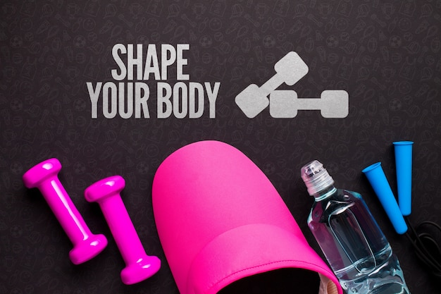 Fitness cap and equipment with water bottle Free Psd
