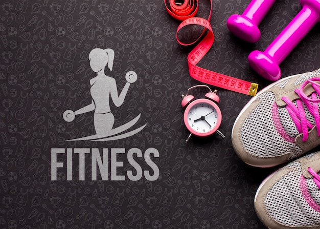 Fitness class equipment and measurement Free Psd