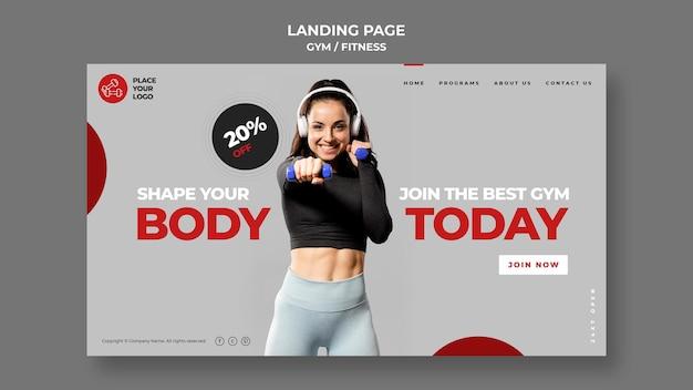 Modello di pagina di destinazione del concetto di fitness Psd Gratuite