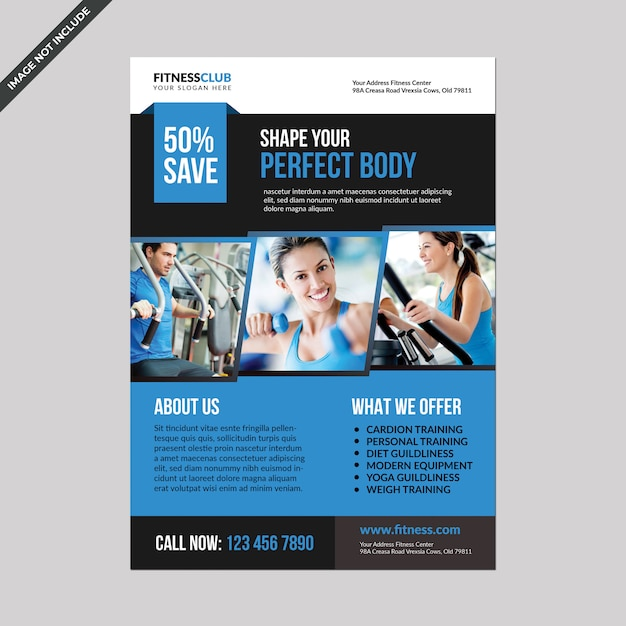 Fitness flyer template Premium Psd