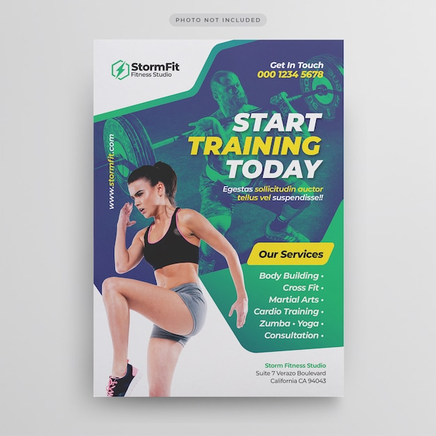 Fitness gym flyer template Premium Psd