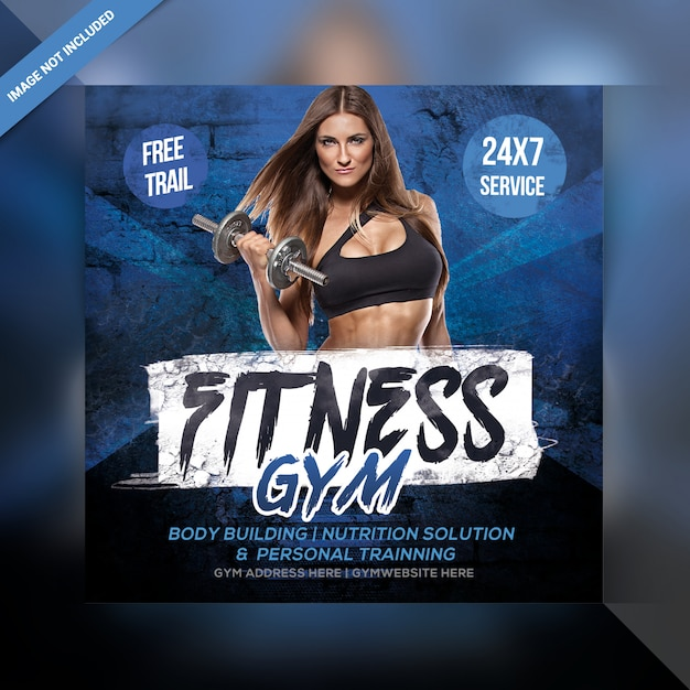 Fitness gym instagram post or banner Premium Psd