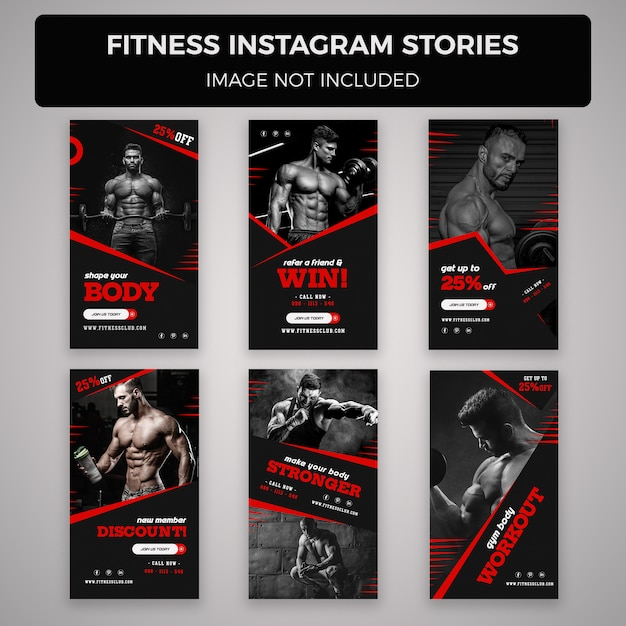 Fitness and gym instagram stories banner  templates Premium Psd