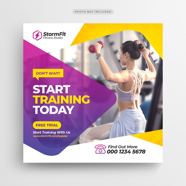 Fitness gym social media post banner or square flyer Premium Psd