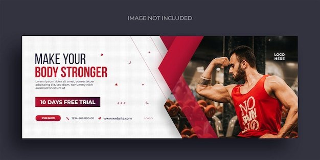 Fitness or gym social media web banner flyer and facebook cover photo design template Premium Psd