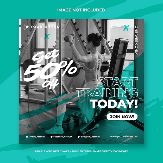 Fitness and gym workout social media instagram post or square flyer template Premium Psd