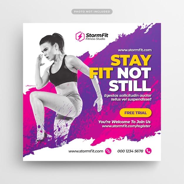 Fitness gym социальные медиа почта и веб-баннер Premium Psd