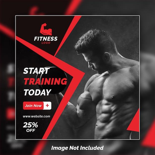 Fitness instagram banner design psd template Premium Psd