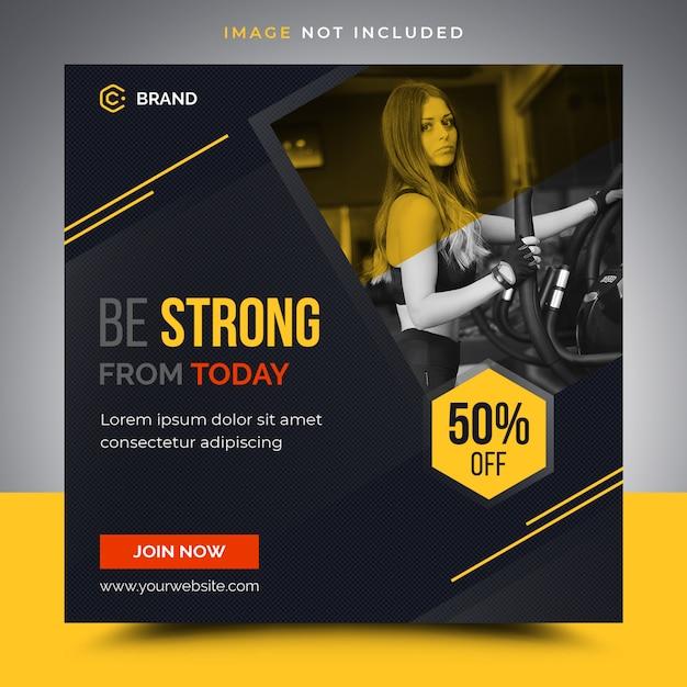 Fitness instagram banner template Premium Psd