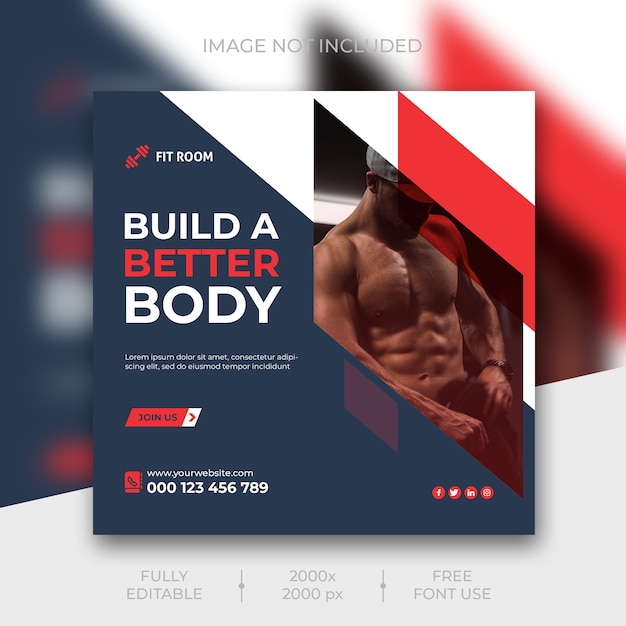 Fitness instagram social media post template Free Psd