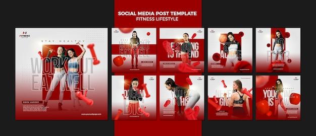フィットネスライフスタイルソーシャルメディア投稿テンプレート Premium Psd
