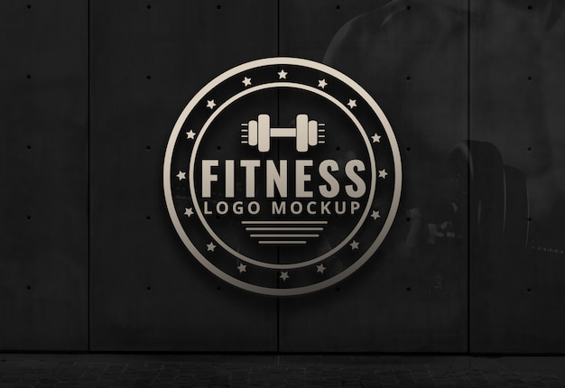 Fitness Logo Mockup Gym Dark Background Wall Mockup Psd Template