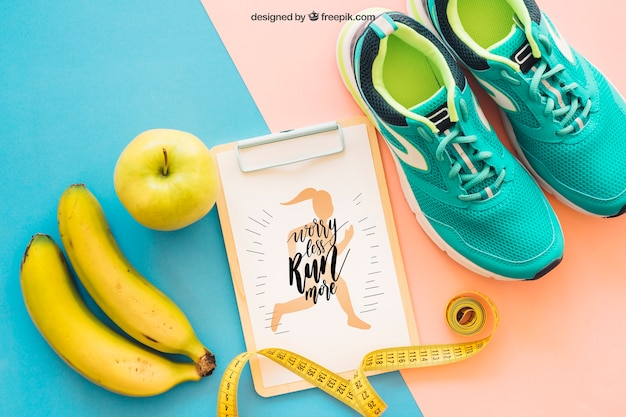 Fitness mockup with clipboard, shoes and banana Free Psd