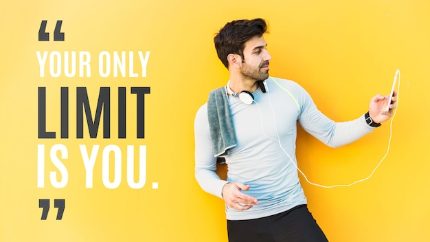 Fitness mockup with quote Free Psd