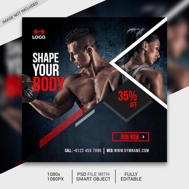 Fitness social media post template, instagram post Premium Psd