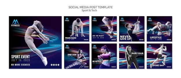 Fitness social media post template Free Psd