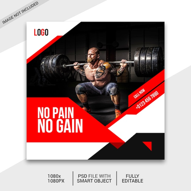 Fitness social media post Premium Psd