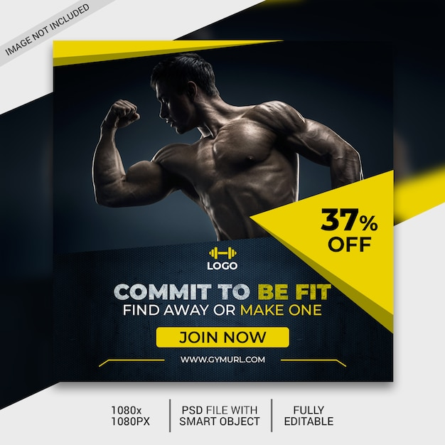 Fitness square flyer template or instagram post Premium Psd