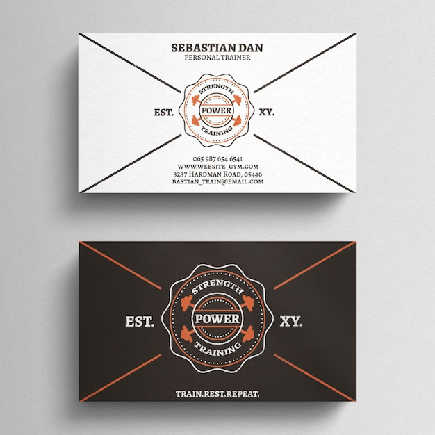 Fitness trainer business card template psd file free download fitness trainer business card template free psd colourmoves