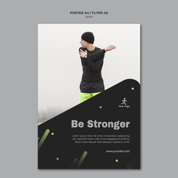 Fitness training ad poster template Free Psd