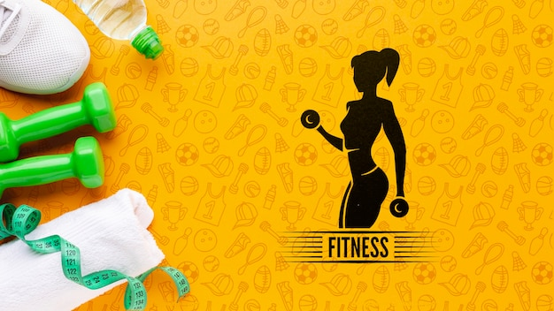 Fitness training equipment and water Free Psd