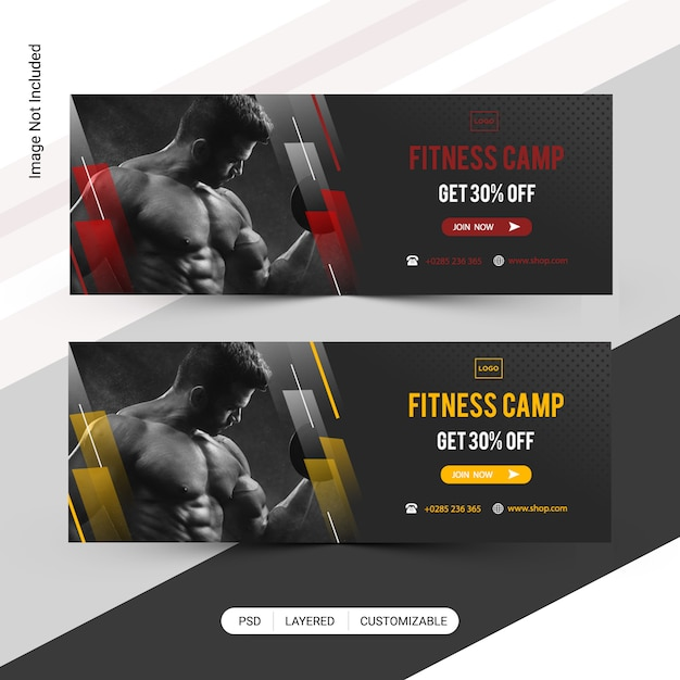 Fitness Web Banner, Facebook Cover Template PSD File