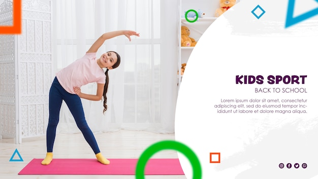 Fitness young girl exercising for back to school Free Psd