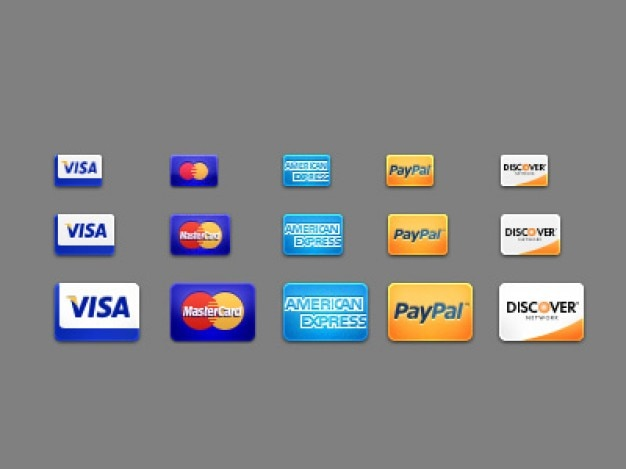 Five card icon as payment method psd Free Psd