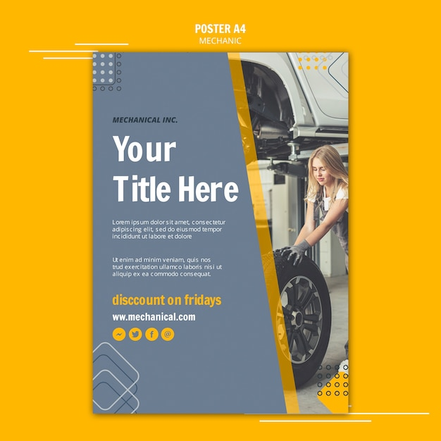 Fix your car mechanic assistance poster Free Psd
