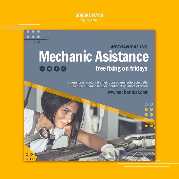 Fix your car mechanic assistance square flyer Free Psd