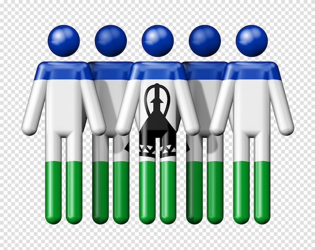 Flag of lesotho on stick figure national and social community 3d symbol Premium Psd