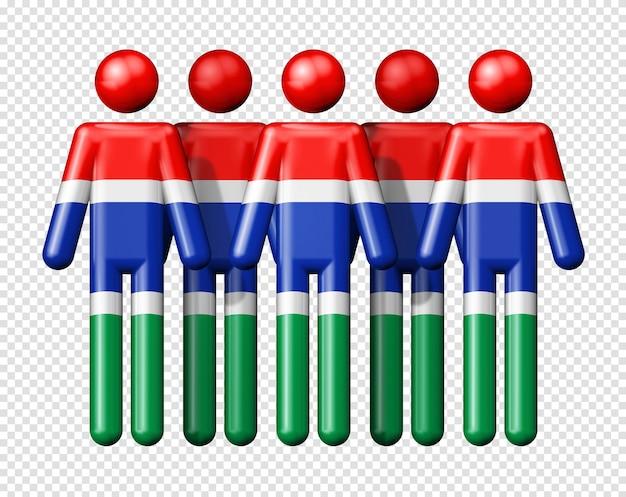 Флаг гамбии на фигурке символа 3d значка национального и социального сообщества Premium Psd