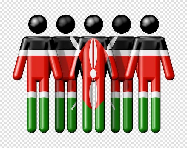 Flag ofkenya on stick figure national and social community 3d symbol Premium Psd