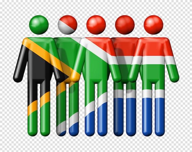Flag of south africa on stick figure Premium Psd