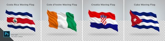 Flags set of costa rica, cote d'ivoire, croatia, cuba flag set on transparent Premium Psd