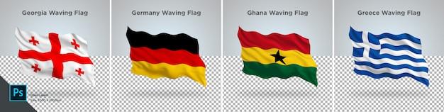 Flags set of georgia, germany, ghana, greece  flag set on transparent Premium Psd