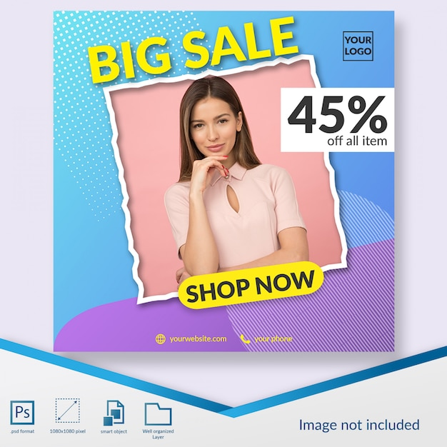 Flash sale fashion discount offer instagram post template or square banner Premium Psd