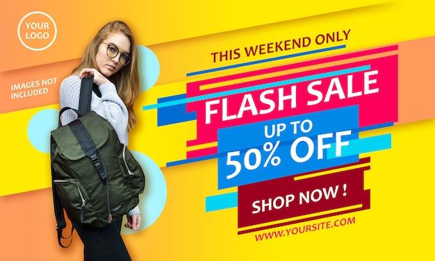 Flash sale promotion poster template Premium Psd