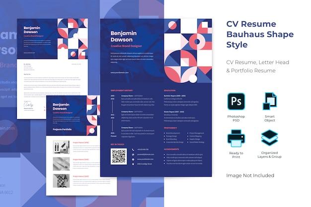 Flat bauhaus professional curriculum template Premium Psd