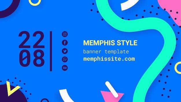 Flat blue memphis style banner Free Psd