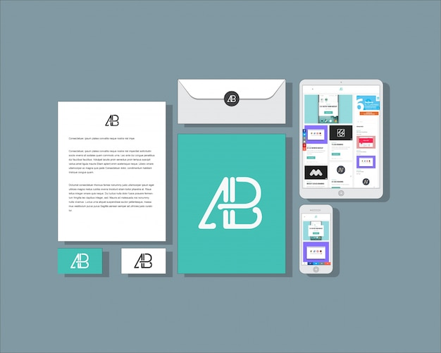 flat business stationery mock up psd file free download